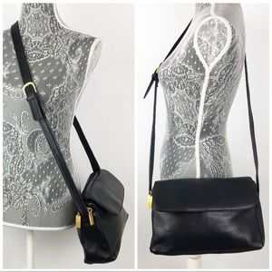 Tignanello Black Pebble Leather Crossbody Purse
